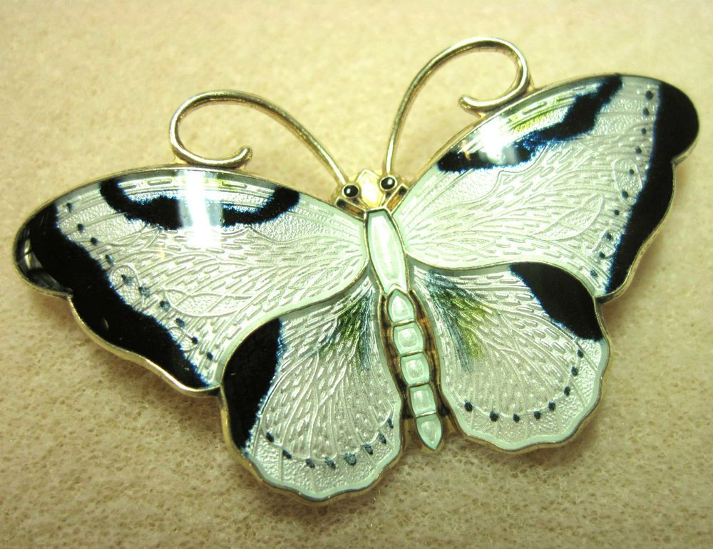Large Vintage Norway Sterling Enamel Butterfly Pin - Hans Myhre, Hoar Prydz