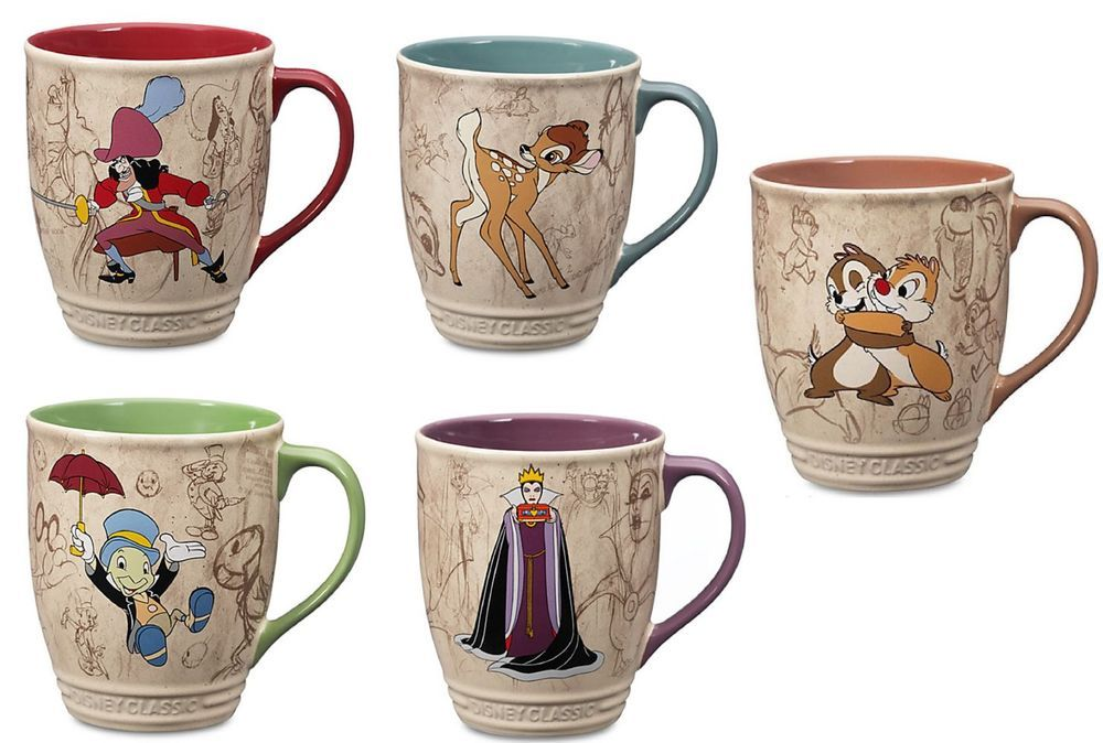 Disney Store Chip Dale Queen Bambi Hook Jiminy Cricket Classic Coffee Cup Mug Tazas Bonitas Tazas Sublimadas Tazas