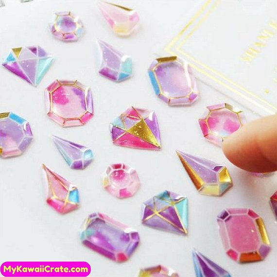120+ Kawaii Gilding Diamonds 3D Stickers ~ Cute Stickers, Crystal Gemstones Diamond Shape Decorative Stic