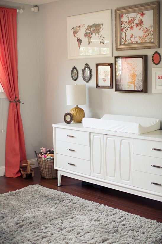 A Lovely Calming Nursery This Is Great Redo Of Mid Century Modern Dresser Love The Curtain Color