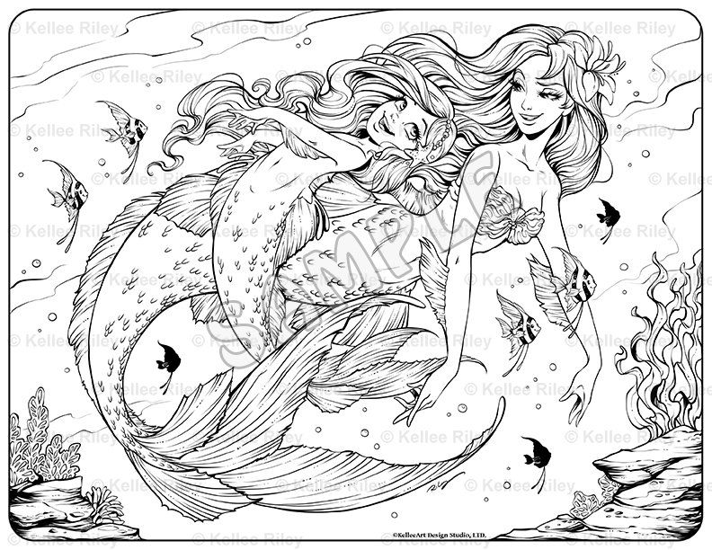 mermaid coloring book for adults underwater playtime adult coloring page pretty etsy