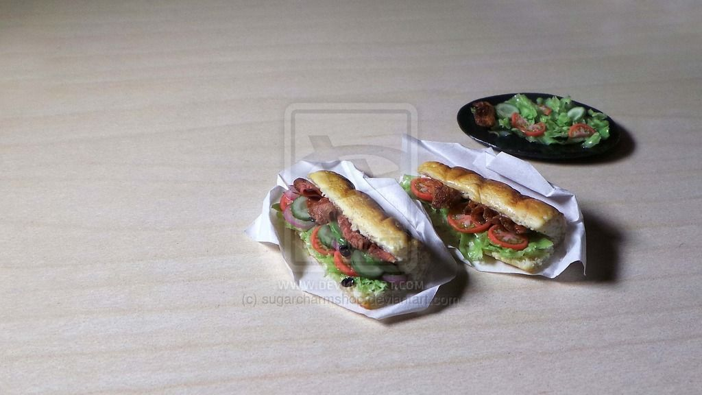 1:12th scale miniature subway sandwiches by sugarcharmshop on DeviantArt