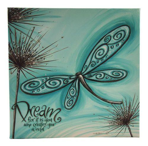 New Lisa Pollock Decorative Art Wall Canvas Blue Dragonfly Great Gift Idea