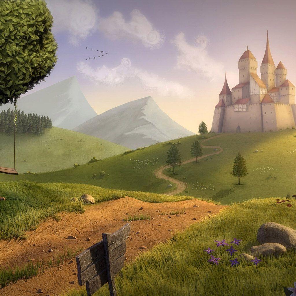 Fairytale Scene Fantasy Landscape Fantasy Castle Landscape Wallpaper