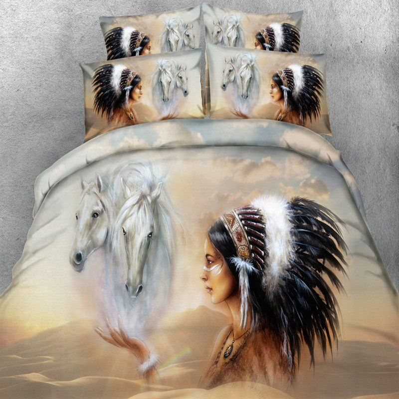 Fancy Black Brown And Gray Indian Character And Horse Print Wild