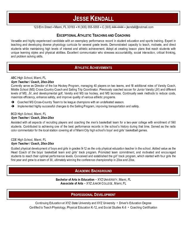 Pe Teacher Resume Sports Teacher Resume  Career Resume Template  Miscphotos .