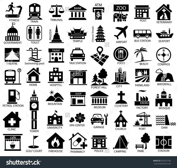 Map Symbols Map Symbols Icon Set City Illustration