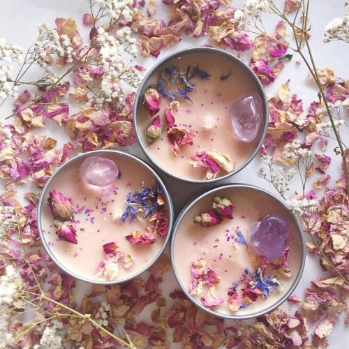 Soy Wax Votives Diy With Dried Flowers And Crystas Candle Making