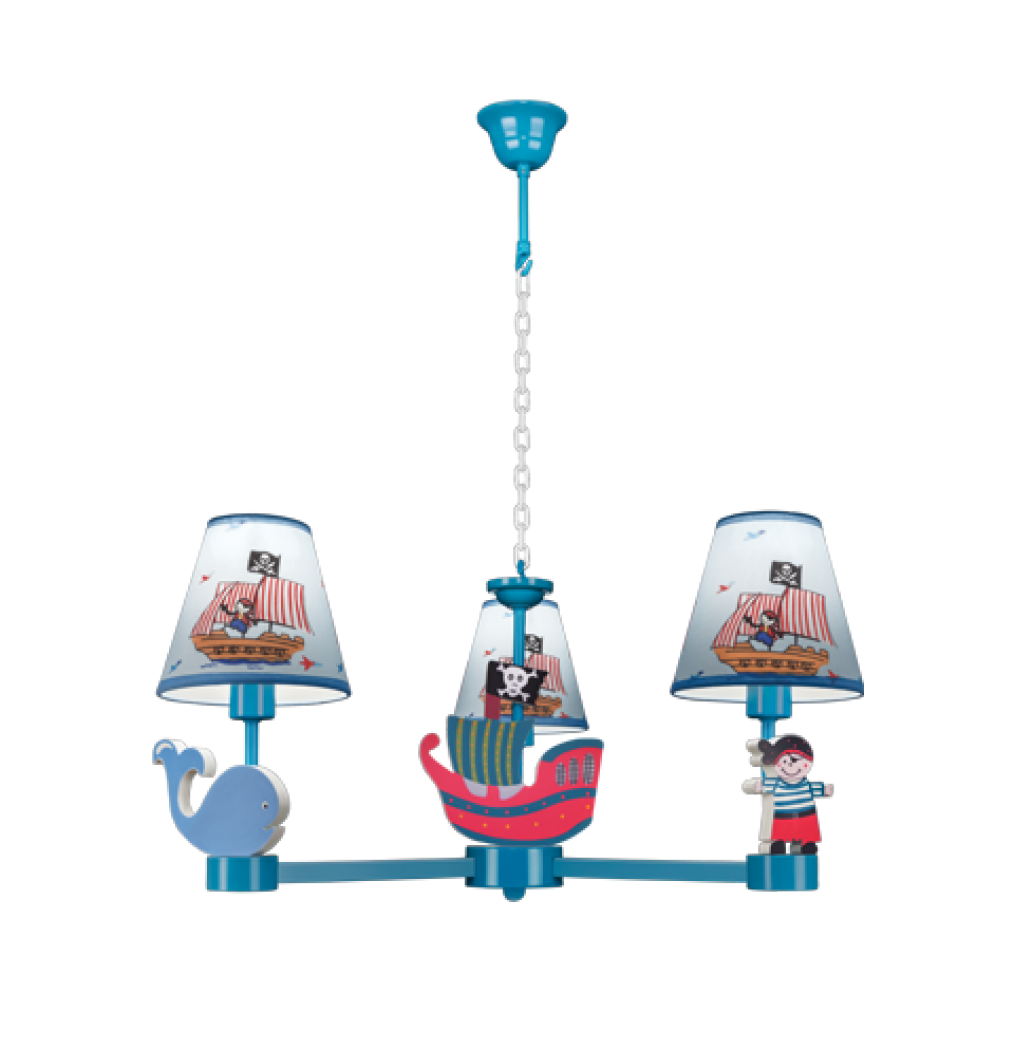 tisva li pirate w head kids chandelier in blue cpp decorative hanging with abat jour pirate. Black Bedroom Furniture Sets. Home Design Ideas