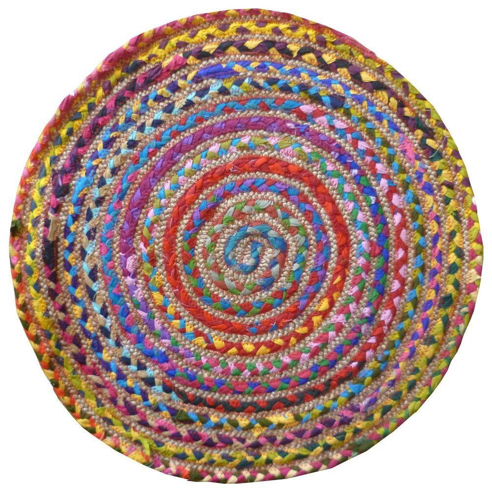 Dettagli su Tappeto rotondo multicolore, prodotto equo e