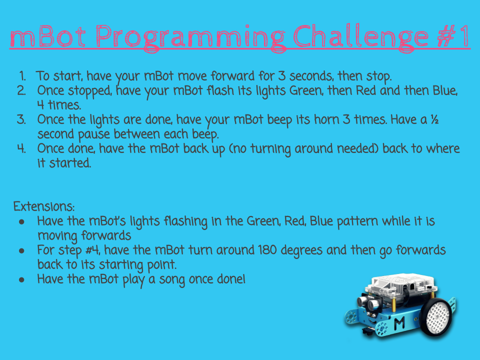 mBot Programming Challenges - TLDSB Coding | mBot | Coding