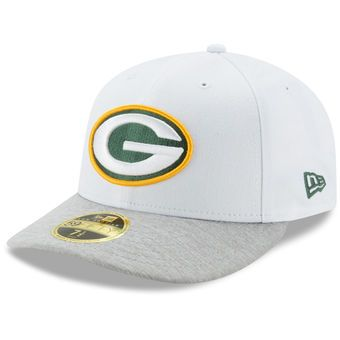 New Era Green Bay Packers White Heathered Gray Tech Sweep Low Profile  59FIFTY Fitted Hat 9646a92b3a1