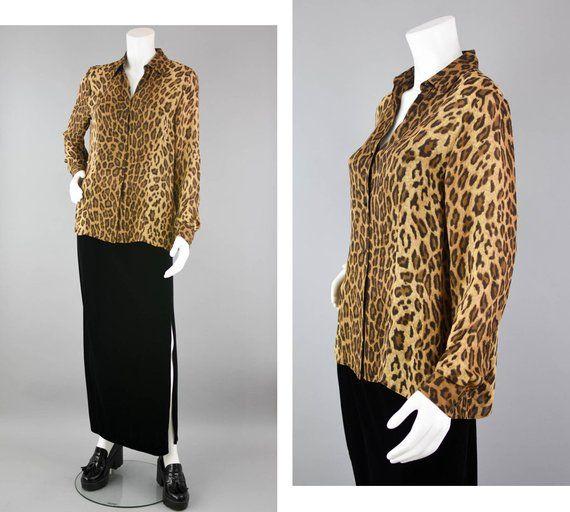 6ffeac3b43d1 90s Ralph Lauren Animal Print Blouse, Long Sleeve Blouse Button Up, Pure  Silk Sheer Designer Top, Women's Medium