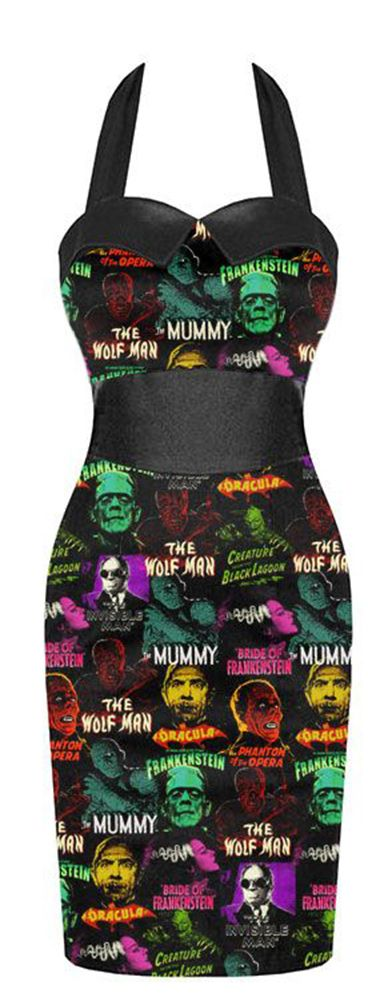 Inked Boutique - Monster Pattern Dress Horror Frankenstein Bride Dracula Mummy Monsters Psychobilly Horrorbilly http://www.inkedboutique.com