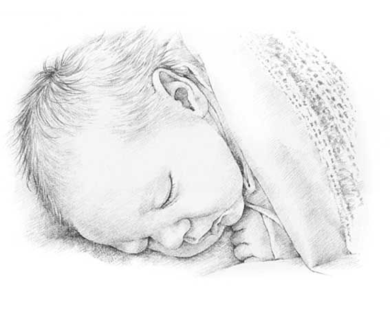 Image result for pencil drawing baby boy sleeping