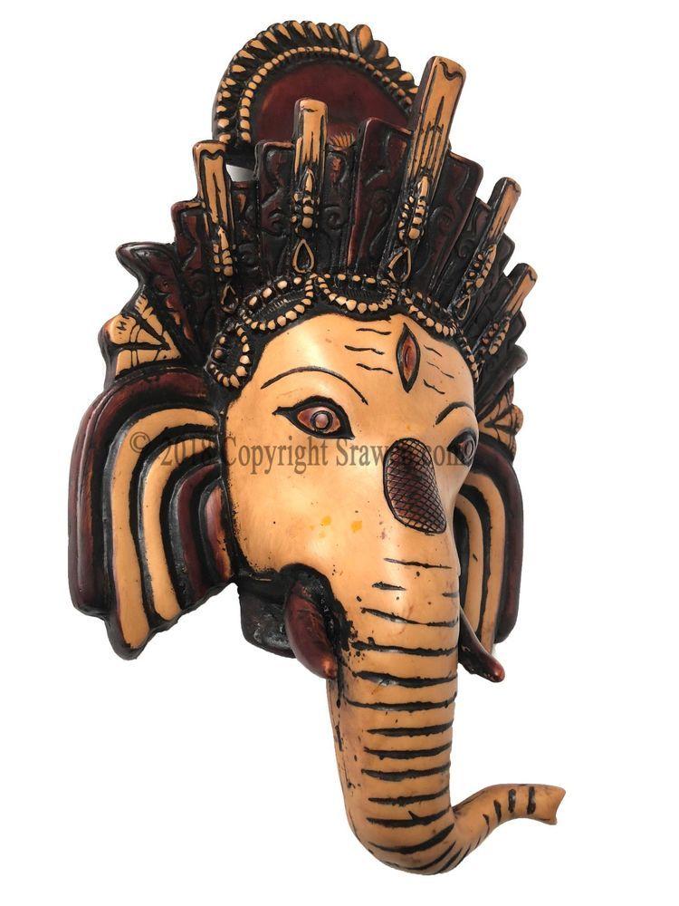Hindu Temple God Ganesh Wall Hanging Mask Statue Ganesha Bust Figurine Diwali