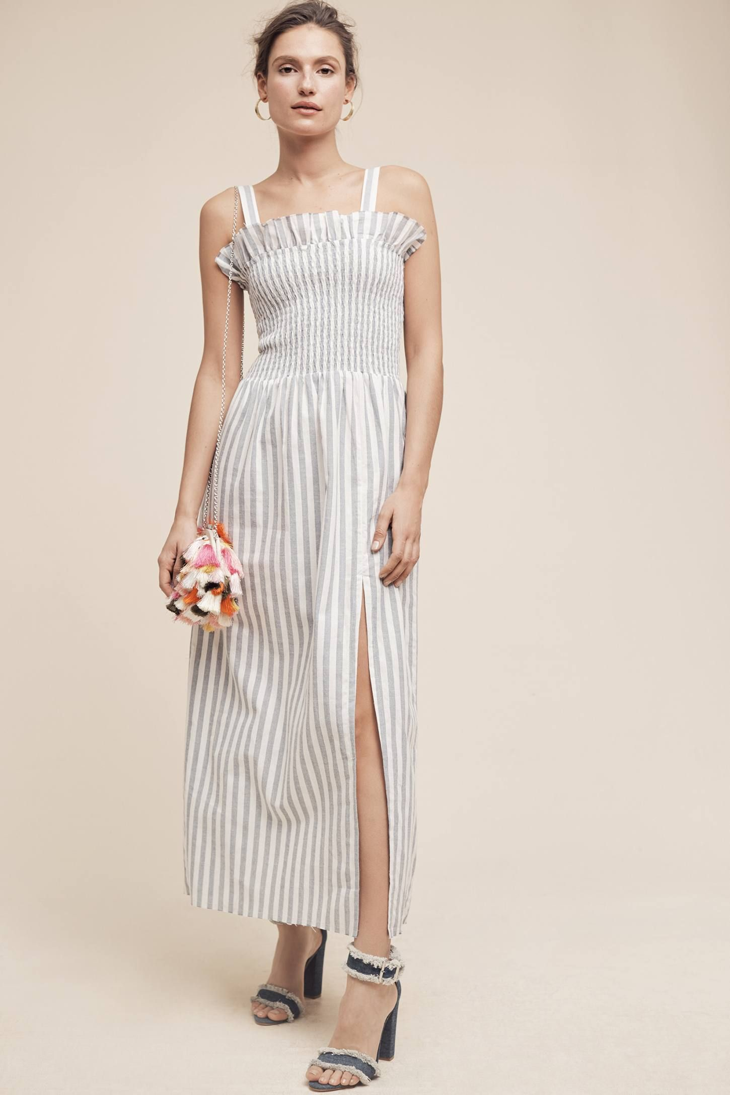cf3be0fdfc Shop the Smocked & Striped Midi Dress and more Anthropologie at  Anthropologie today. Read customer reviews, discover product details and  more.