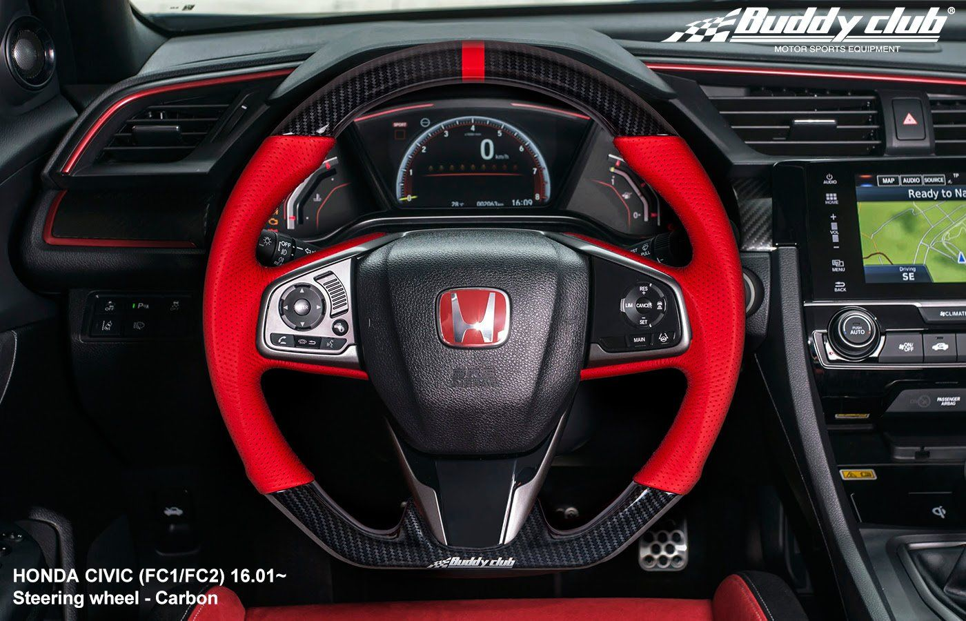 Buddy Club Steering Wheel Honda Civic 16 19 Civic Type R 17 19 Leather Or Carbon Honda Civic Honda Civic Accessories Honda Civic Si