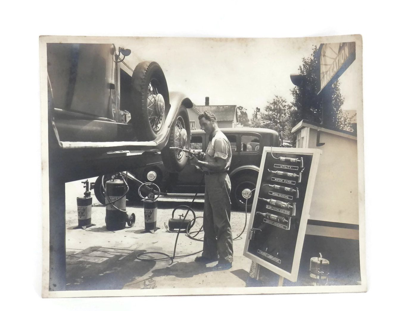 1920's Gas Station Mechanics Photograph with Sunset Tools