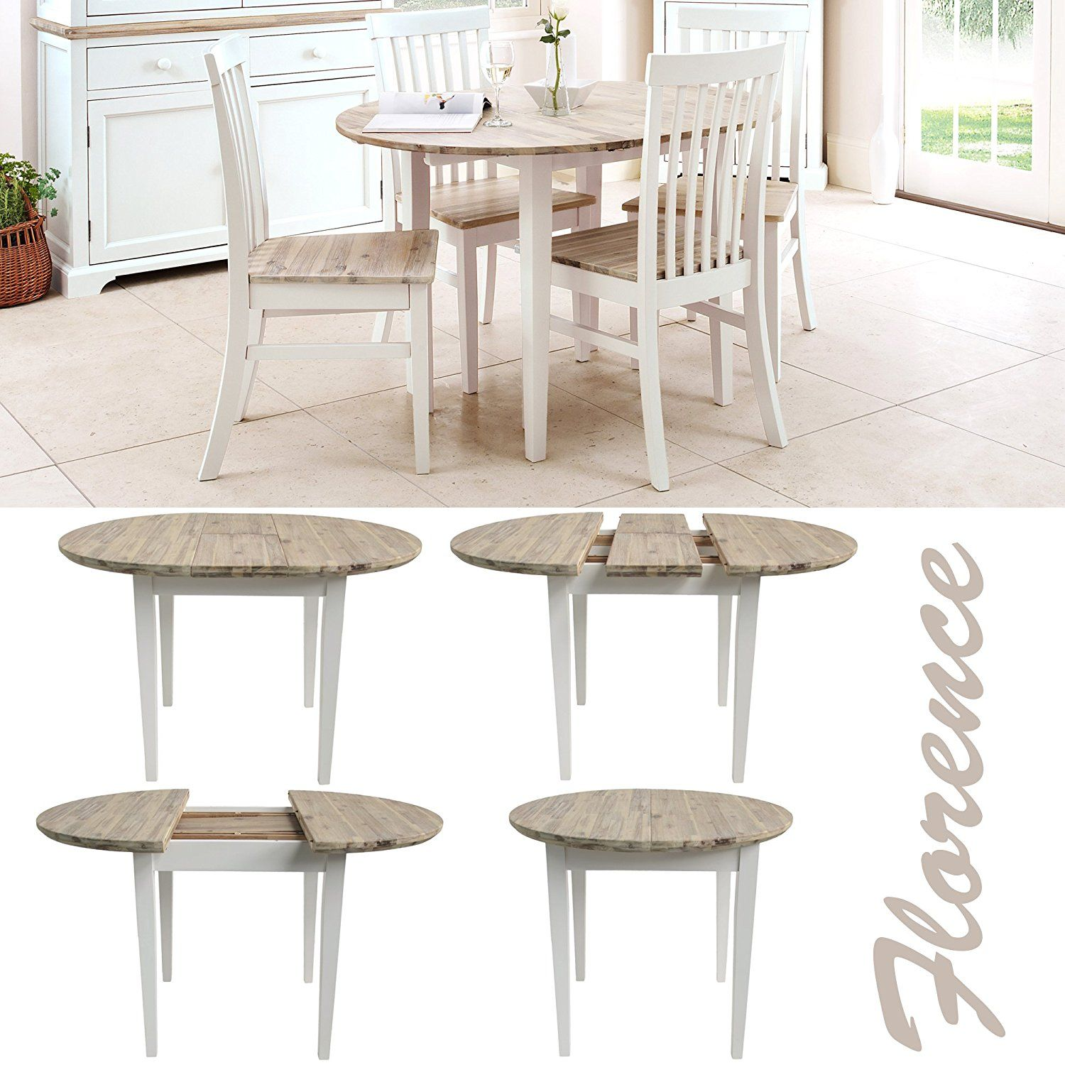 Florence round extended table (92-117cm). Stunning white kitchen dining table with brushed acacia top. Tab… | Dining table in kitchen, Matching chairs, Dining table