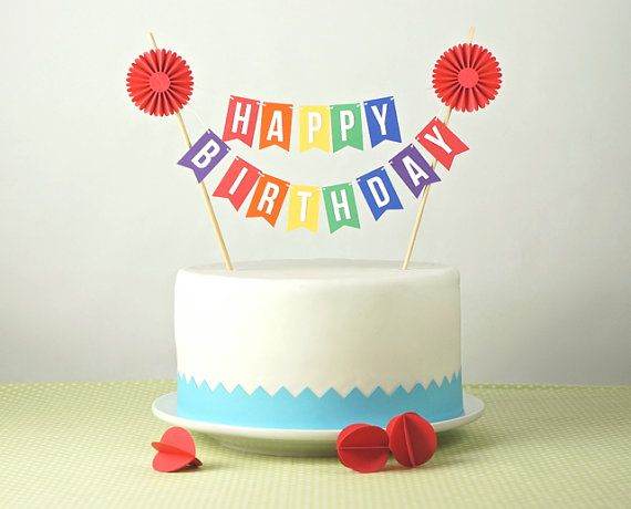 Enjoyable Rainbow Cake Bunting Happy Birthday Cake Topper With Rosette Funny Birthday Cards Online Necthendildamsfinfo