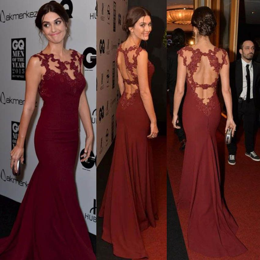 Red Carpet Mermaid Celebrity Dresses Elegant Burgundy Lace Liques Evening Gown Prom Dress Formal Chiffon Beaded
