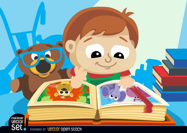 Little boy with illustrated book Little boy with illustrated book, Vector by Vector Open Stock License: Attribution ID: 315388...