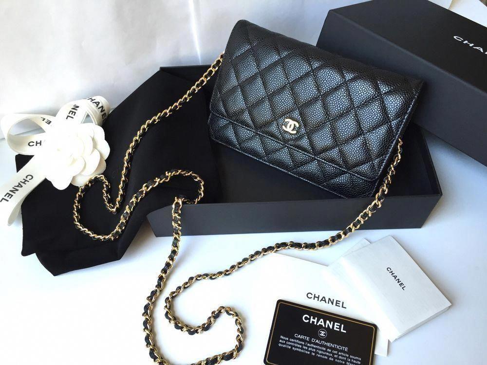 197cb85609b1 NEW 2016 CHANEL Caviar Flap WALLET ON CHAIN WOC BAG Black Classic Gold