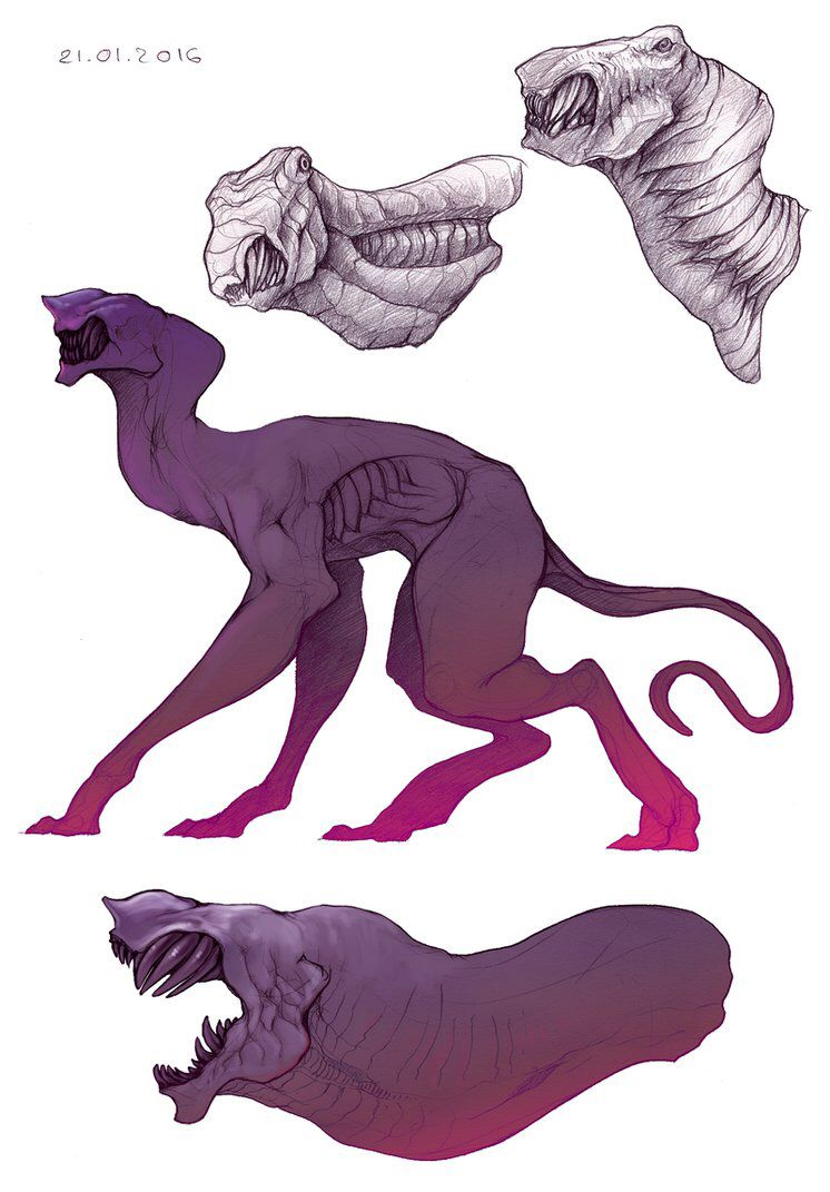 Pin By Phum On New World Creature Drawings Monster Concept Art Alien Creatures
