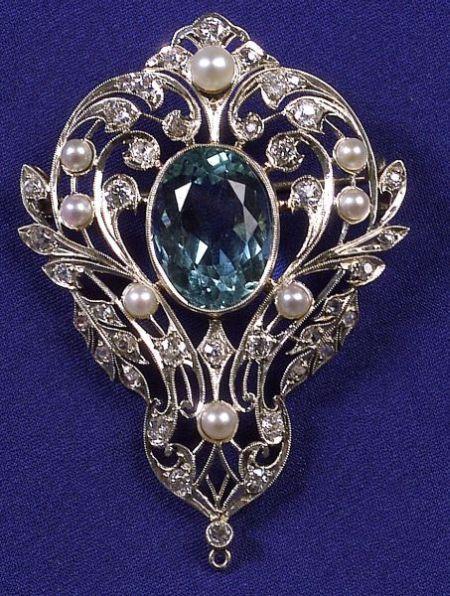 Platinum, Aquamarine, Diamond and Pearl Brooch