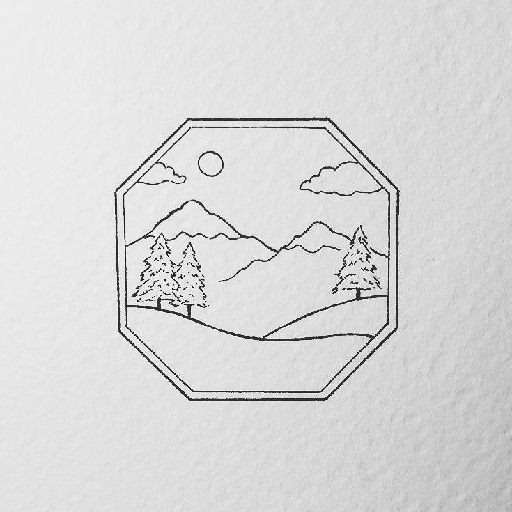 A Little Minimalist Badge I Really Want To Digitalise This One With Some Color Some Pop Colors To Show The Snowy Mou Mountain Drawing Nature Sketch Drawings