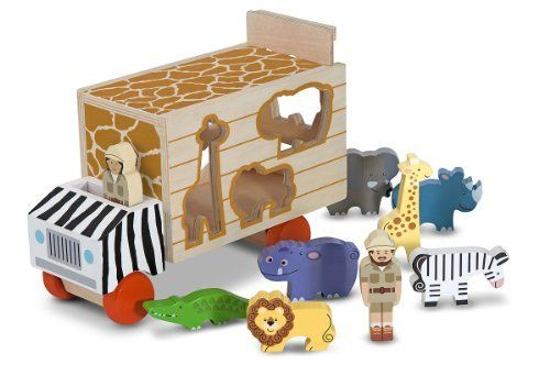 Melissa & Doug Animal Rescue Shape-Sorting Truck by Melissa & Doug. $26.88. Includes wooden safari truck with slide-up cargo door and die-cut sides, plus 7 wooden animals and 2 wooden people. Wooden vehicle toy and shape sorter in one. Helps teach shape recognition, fine-motor skills and hand-eye coordination, encourages exploration and imaginative play. Vibrant patterns add a ?wild? touch that animal-loving kids will adore. Appealing colors and patterns add visual interes...