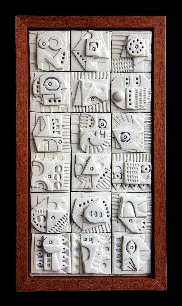 Ron Hitchens Terracotta Tile Wall Sculpture 1960s