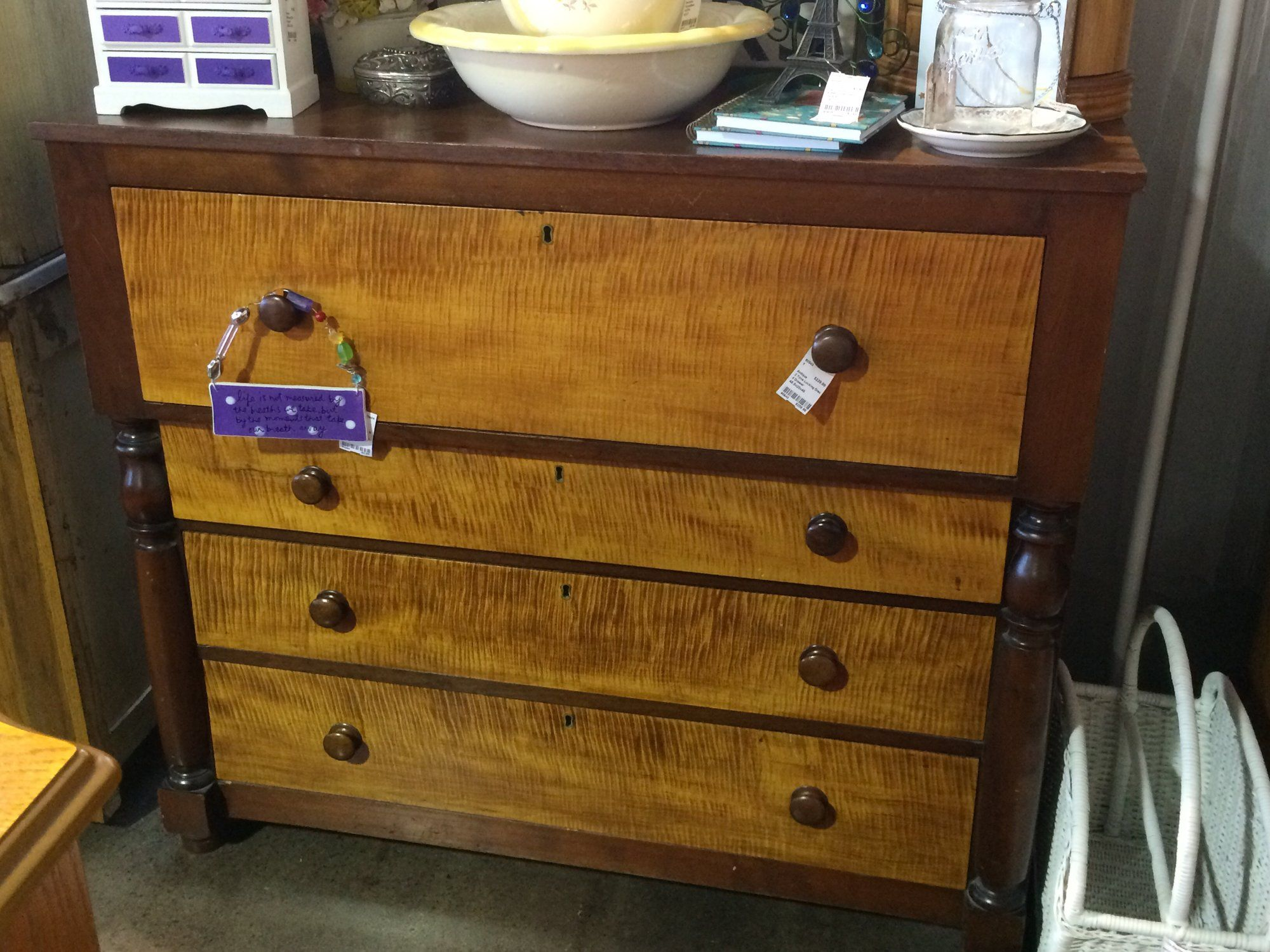 This Awesome Antique Dresser Has 4 Drawers And The Lock Has The