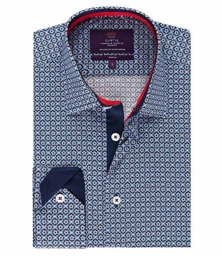 5413d095750c6 Curtis Navy Floral Slim Fit Men s Shirt - Single Cuff