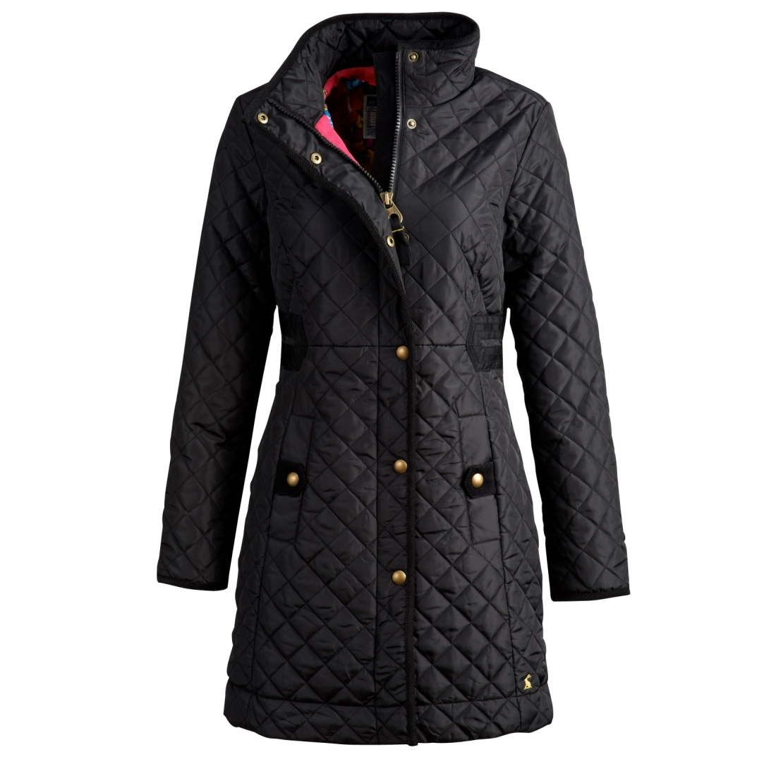 Joules+Fairhurst+Coat+Black+-+Joules+Fairhurst+Coat+Black.+The+Fairhurst+coat+is+a+lightweight+country+coat+with+a+twist.+Made+from+100%+polyester+the+coat+features+a+zip+and+popper+front+fastening,+cord+binding+detail+and+a+cotton+floral+lining.+The+coat+offers+a+3/4+length+along+with+a+laid+on+ribbon+detail+tot+he+waist,+popper+fastening+pockets+and+a+button+down+storm+flap.+Machine+washable.
