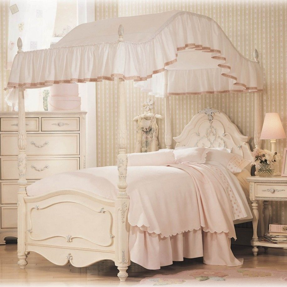 Bedroom White Girls Canopy Bed With Wallpaper And Wardrobe Cabinet Also  White Shade Night Lamp Canopy