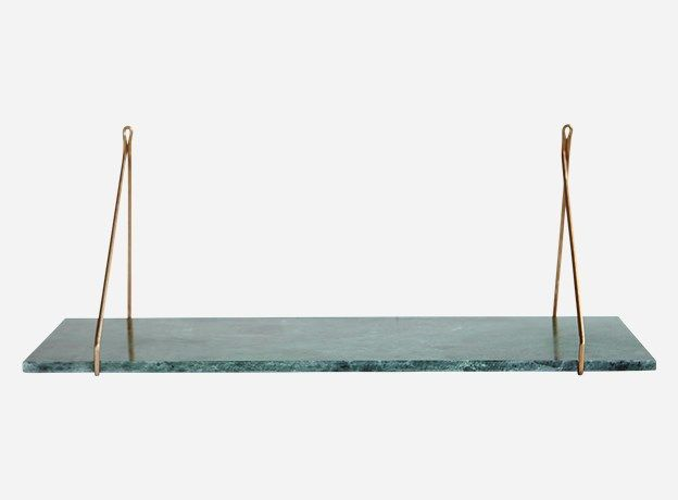 Sa0902 Hylde, Marble, gron marmor, 24×70 cm Amalie Marble shelf, House doctor, Green shelves