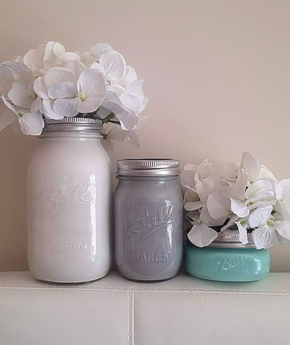 Colorful Painted Mason Jars Wedding Centerpieces Rustic by Basix