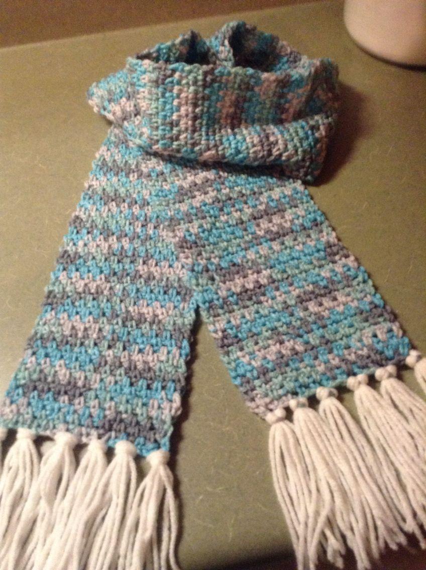 Crochet Linen stitch scarf in Red Heart Icelandic | Crochet Elephant ...