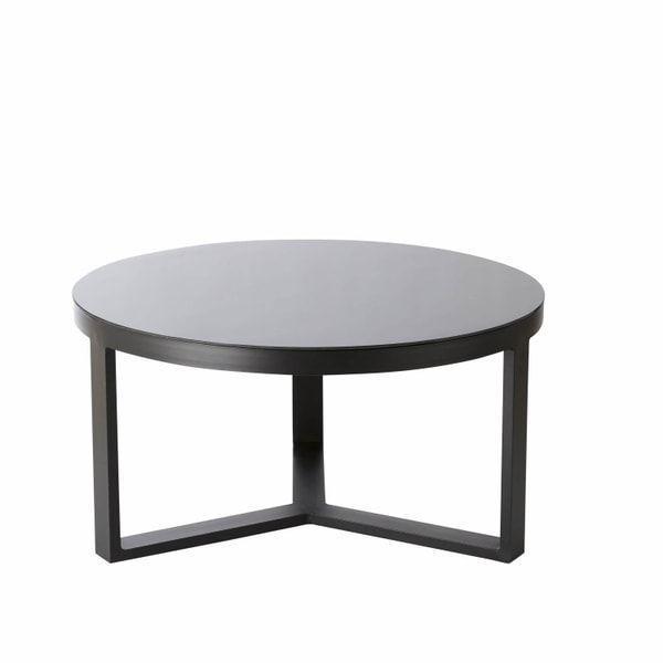 Aluminium And Black Tempered Glass Round Garden Coffee Table Thetis Thetis Ma Garden Coffee Tabl Garden Coffee Table Coffee Table Black Coffee Tables