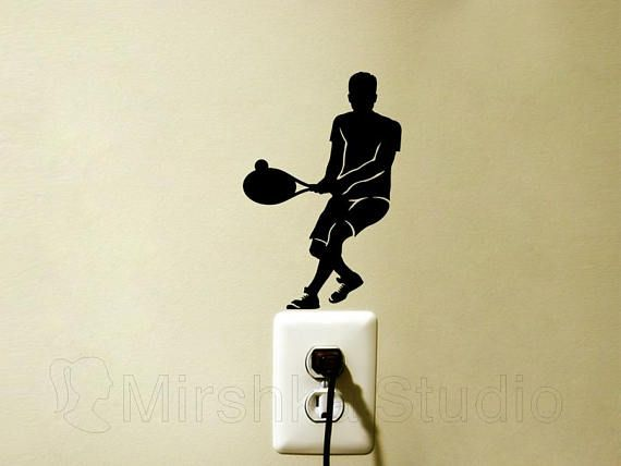 Tennis Player Light Switch Decal Teen Room Wall Art Sports | Etsy ...