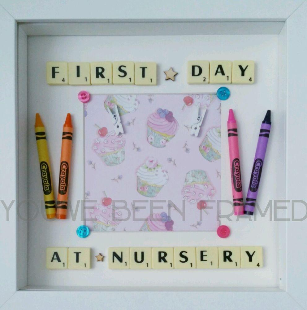 First day at nursery/preschool/school keepsake frame with scrabble ...