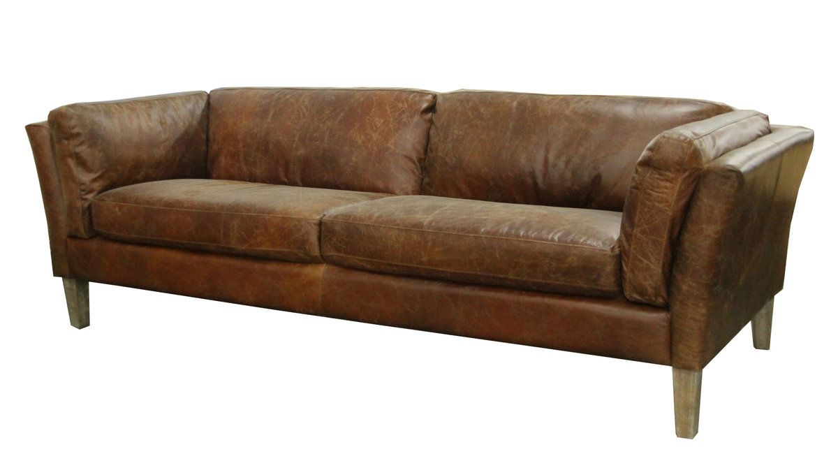 The cartwell distressed leather sofa is a unique piece of furniture that would look great in your living room the sofa is a cool contemporary piece