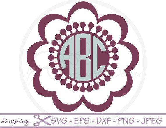 SVG Monogram Floral Vector Files, Cirlcle Monogram Floral , SVG for Cutting Machines, Cutting Files Floral, Silhouette Monogram Flowers