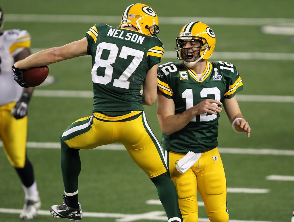 Aaron Rodgers And Jordy Nelson Photos Photos Super Bowl Xlv Jordy Nelson Green Bay Packers Fans Green Bay Packers