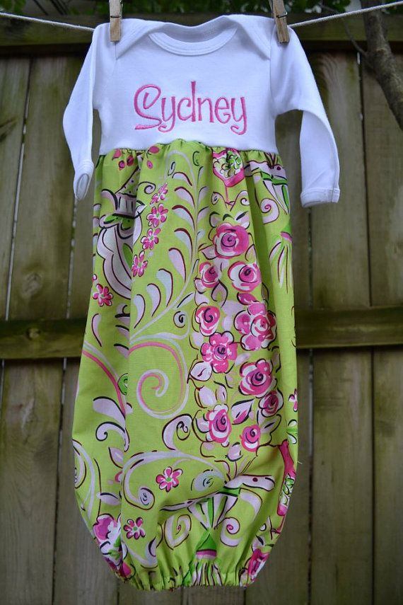 Floral Monogrammed Baby Gown by adeichhorn on Etsy, $34.00 | Baby ...