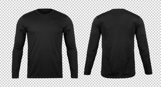 Download Blank Black Long Sleve Tshirt Mockup Template Kaos Lengan Panjang Hitam