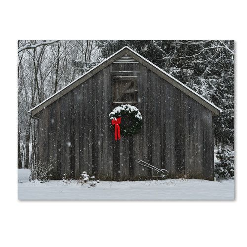 """Found it at Wayfair - """"Christmas Barn in the Snow"""" by Kurt Shaffer Photographic Print on Wrapped Canvas"""