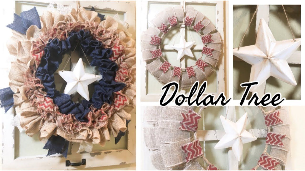 4TH OF JULY DIY DECOR DOLLAR TREE DIY BURLAP WREATH